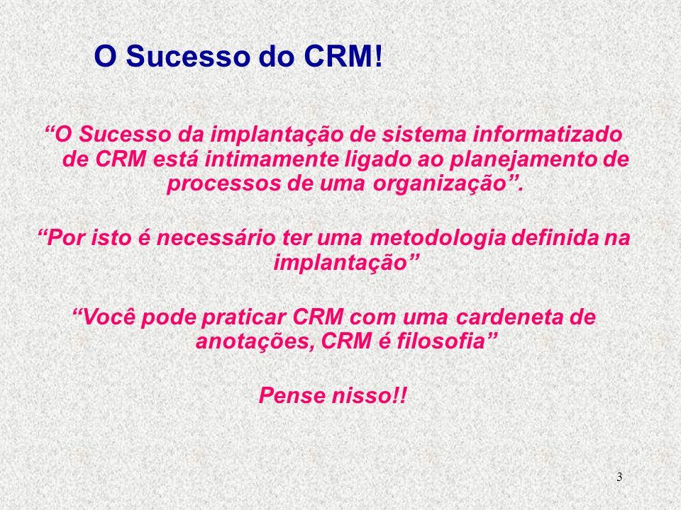 3 O Sucesso da implantação de sistema informatizado de CRM está intimamente ligado ao planejamento de processos de uma organização.