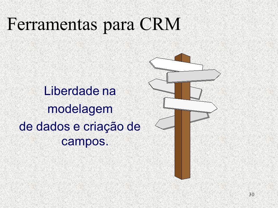 30 Liberdade na modelagem de dados e criação de campos. Ferramentas para CRM