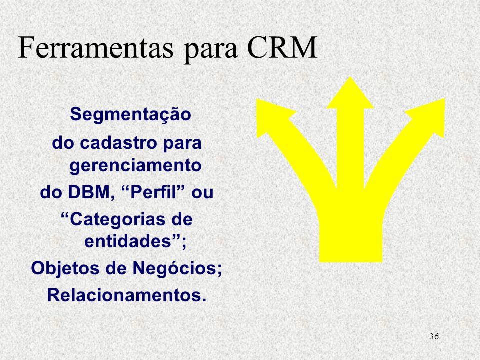 36 Segmentação do cadastro para gerenciamento do DBM, Perfil ou Categorias de entidades; Objetos de Negócios; Relacionamentos.