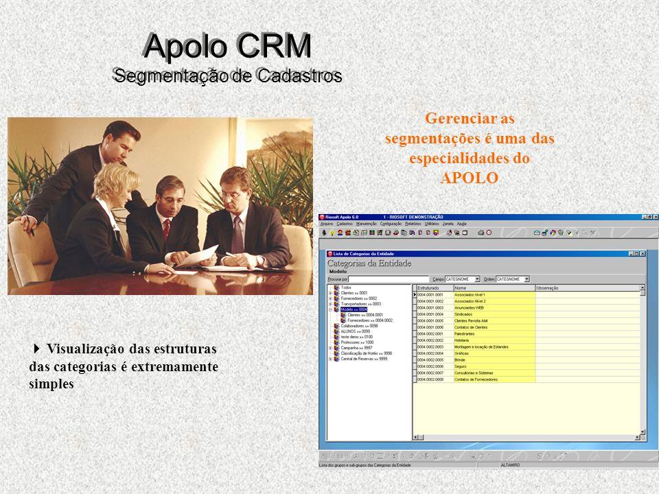 37 Apolo CRM Segmentação de Cadastros Gerenciar as segmentações é uma das especialidades do APOLO Visualização das estruturas das categorias é extremamente simples