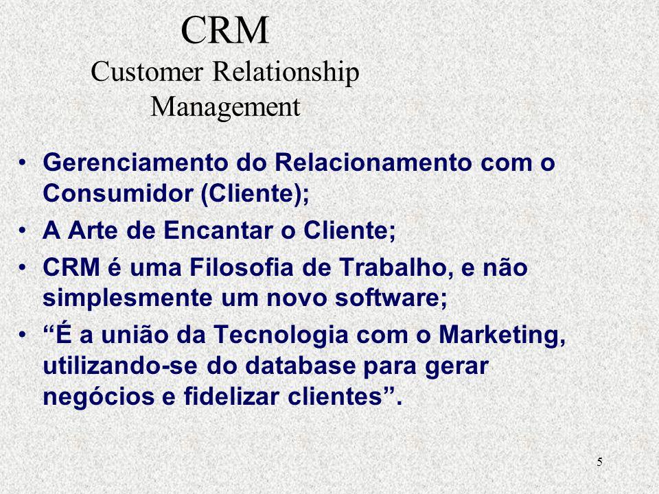 5 CRM Customer Relationship Management Gerenciamento do Relacionamento com o Consumidor (Cliente); A Arte de Encantar o Cliente; CRM é uma Filosofia de Trabalho, e não simplesmente um novo software; É a união da Tecnologia com o Marketing, utilizando-se do database para gerar negócios e fidelizar clientes.