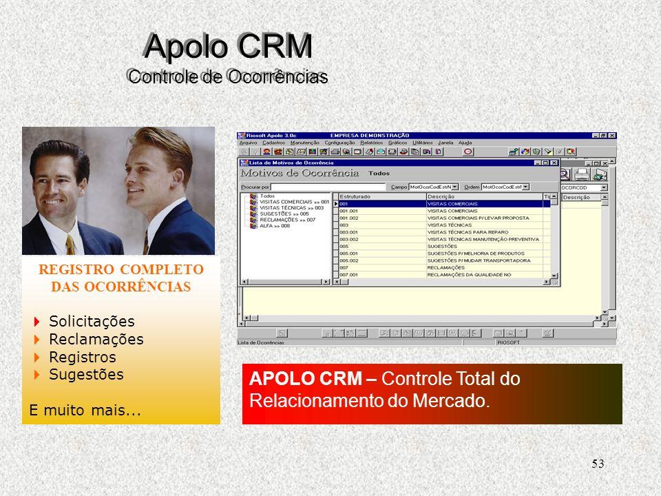 53 Apolo CRM Controle de Ocorrências REGISTRO COMPLETO DAS OCORRÊNCIAS Solicitações Reclamações Registros Sugestões E muito mais...