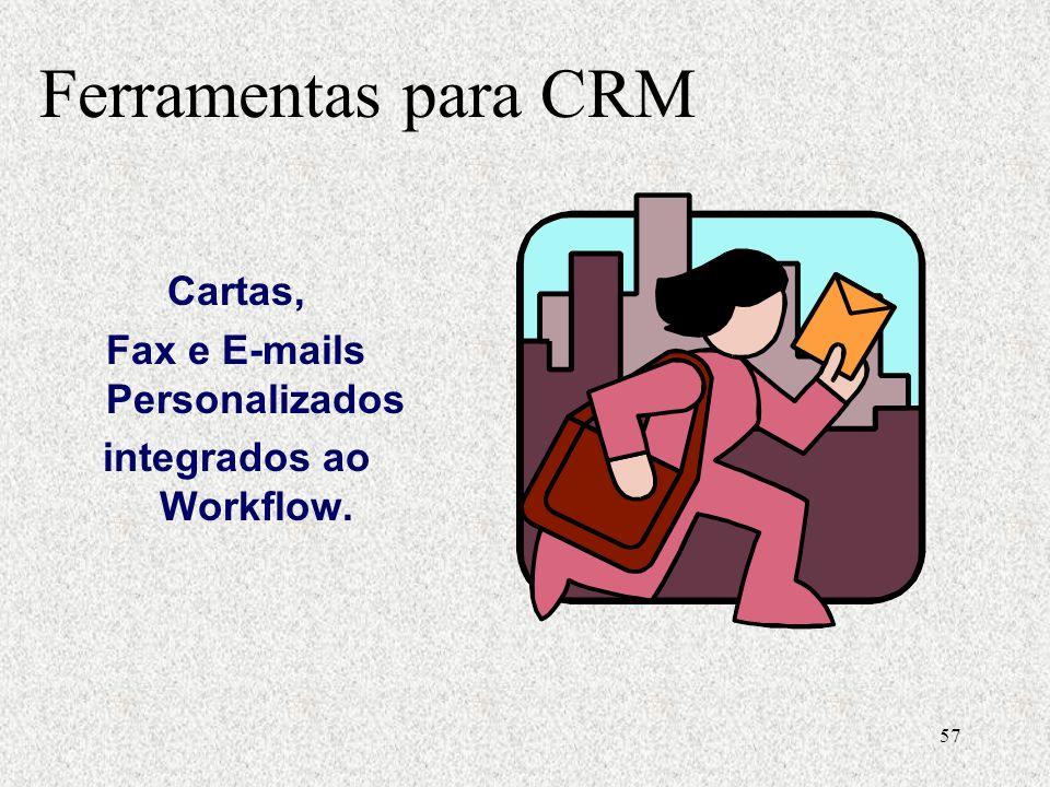 57 Cartas, Fax e E-mails Personalizados integrados ao Workflow. Ferramentas para CRM