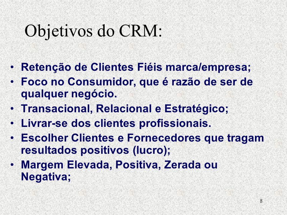 8 Retenção de Clientes Fiéis marca/empresa; Foco no Consumidor, que é razão de ser de qualquer negócio.