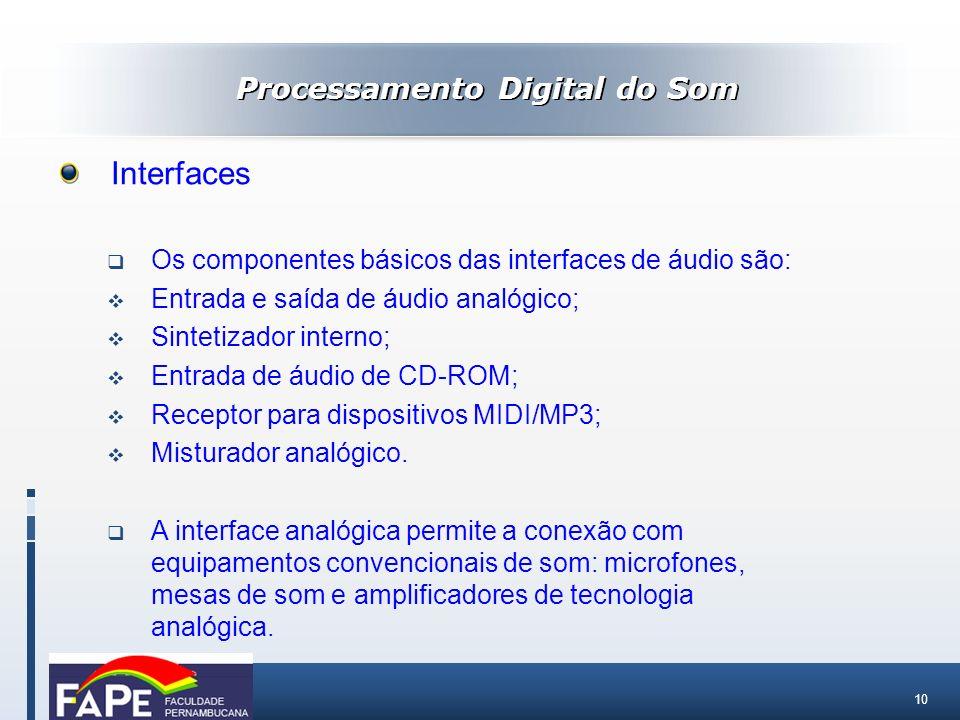 10 Processamento Digital do Som Interfaces Os componentes básicos das interfaces de áudio são: Entrada e saída de áudio analógico; Sintetizador intern