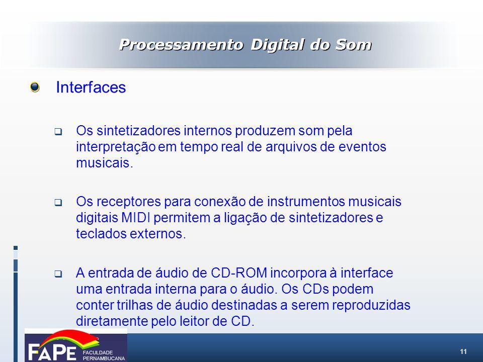 11 Processamento Digital do Som Interfaces Os sintetizadores internos produzem som pela interpretação em tempo real de arquivos de eventos musicais. O