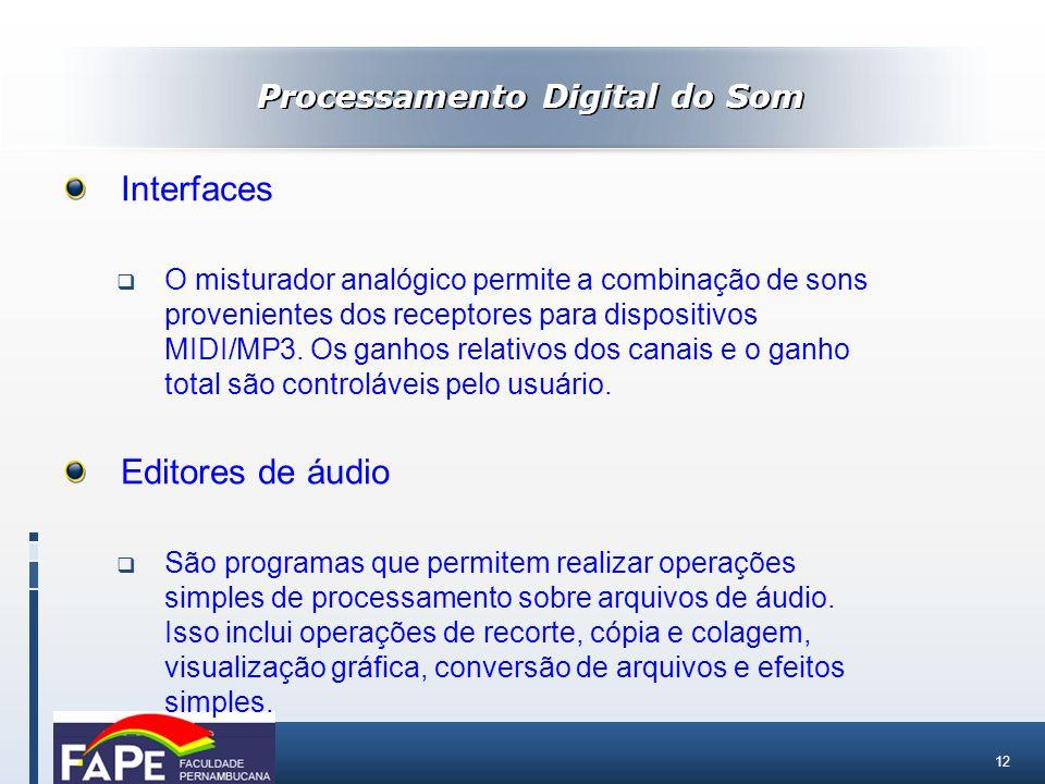 12 Processamento Digital do Som Interfaces O misturador analógico permite a combinação de sons provenientes dos receptores para dispositivos MIDI/MP3.