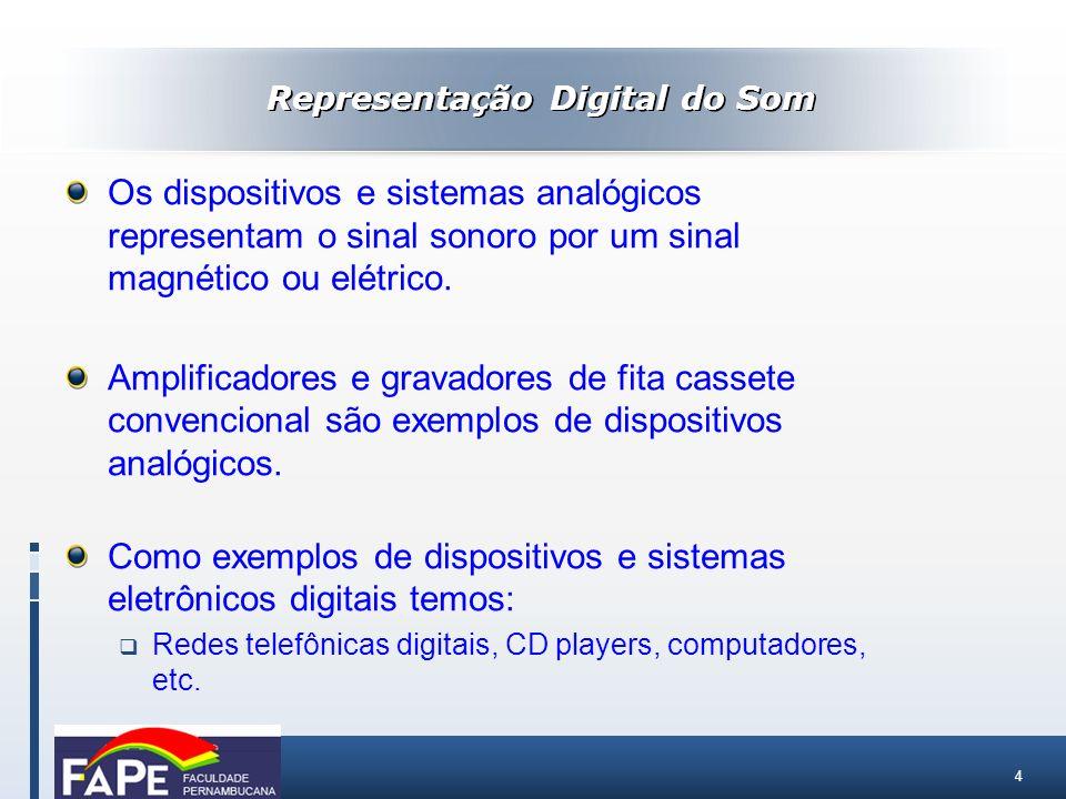 4 Representação Digital do Som Os dispositivos e sistemas analógicos representam o sinal sonoro por um sinal magnético ou elétrico. Amplificadores e g