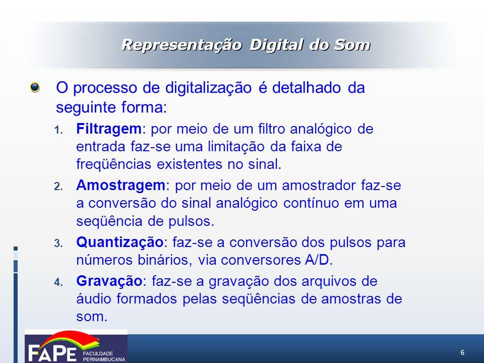 6 Representação Digital do Som O processo de digitalização é detalhado da seguinte forma: 1. Filtragem: por meio de um filtro analógico de entrada faz