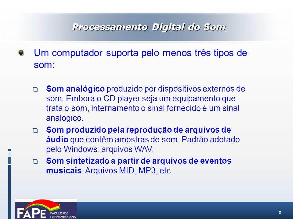 8 Processamento Digital do Som Um computador suporta pelo menos três tipos de som: Som analógico produzido por dispositivos externos de som. Embora o