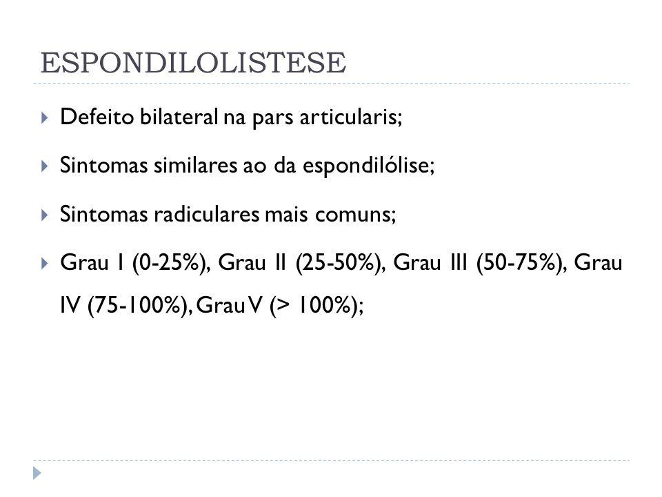 ESPONDILOLISTESE Defeito bilateral na pars articularis; Sintomas similares ao da espondilólise; Sintomas radiculares mais comuns; Grau I (0-25%), Grau