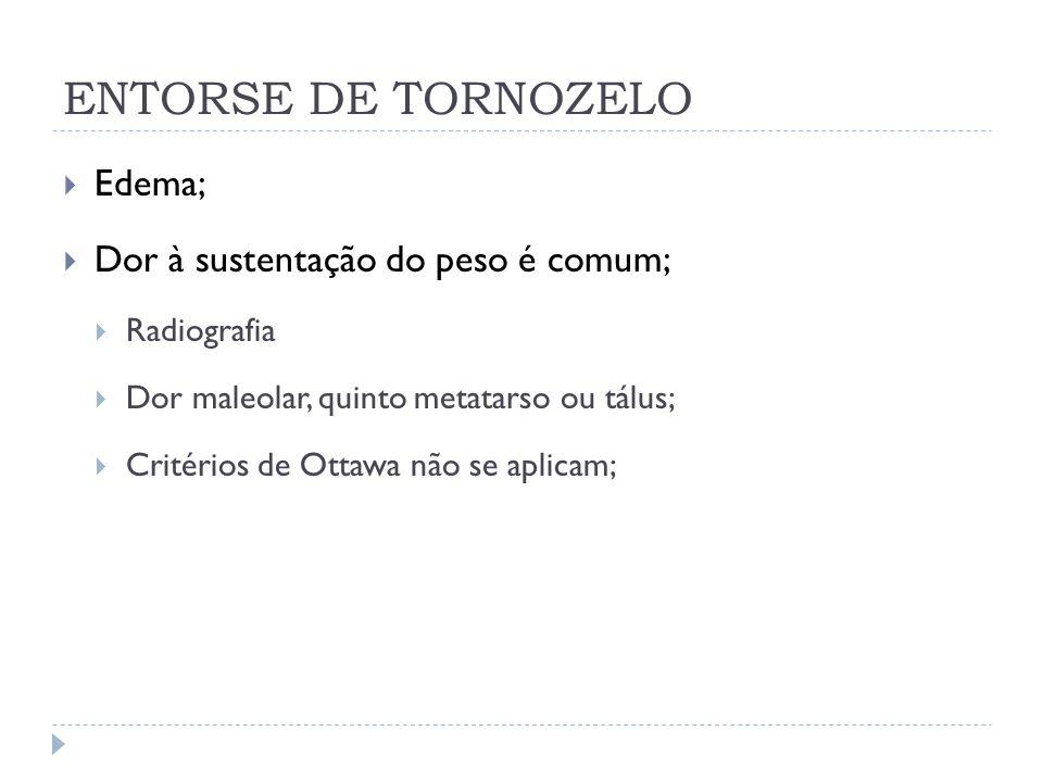 ENTORSE DE TORNOZELO Gaveta anterior; Talar tilt; Squeeze test; Fratura de Maisonneuve;