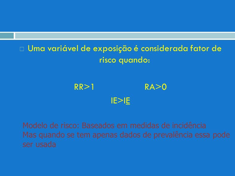 Uma variável de exposição é considerada fator de risco quando: RR>1 RA>0 IE>IE Modelo de risco: Baseados em medidas de incidência Mas quando se tem ap