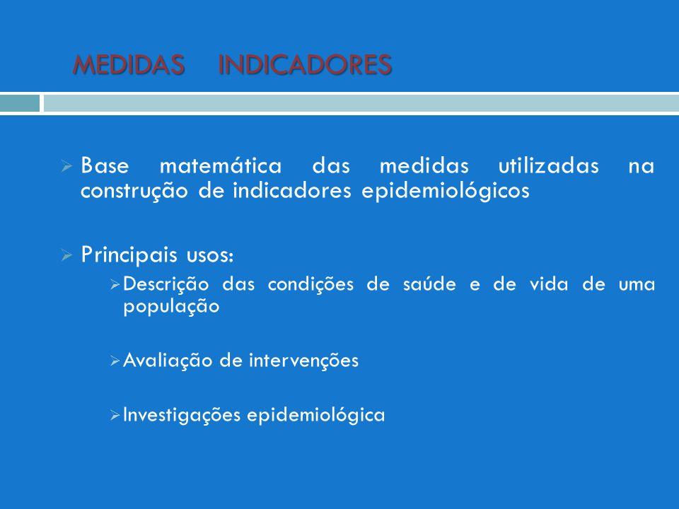 MEDIDAS INDICADORES MEDIDAS INDICADORES Base matemática das medidas utilizadas na construção de indicadores epidemiológicos Principais usos: Descrição