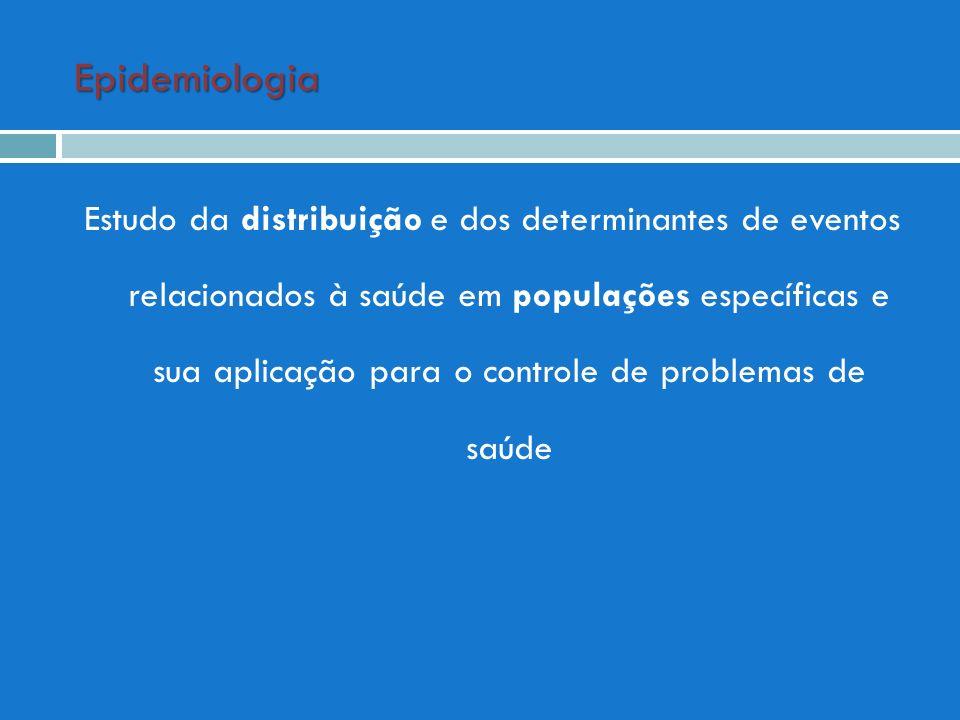 Epidemiologia Estudo da distribuição e dos determinantes de eventos relacionados à saúde em populações específicas e sua aplicação para o controle de