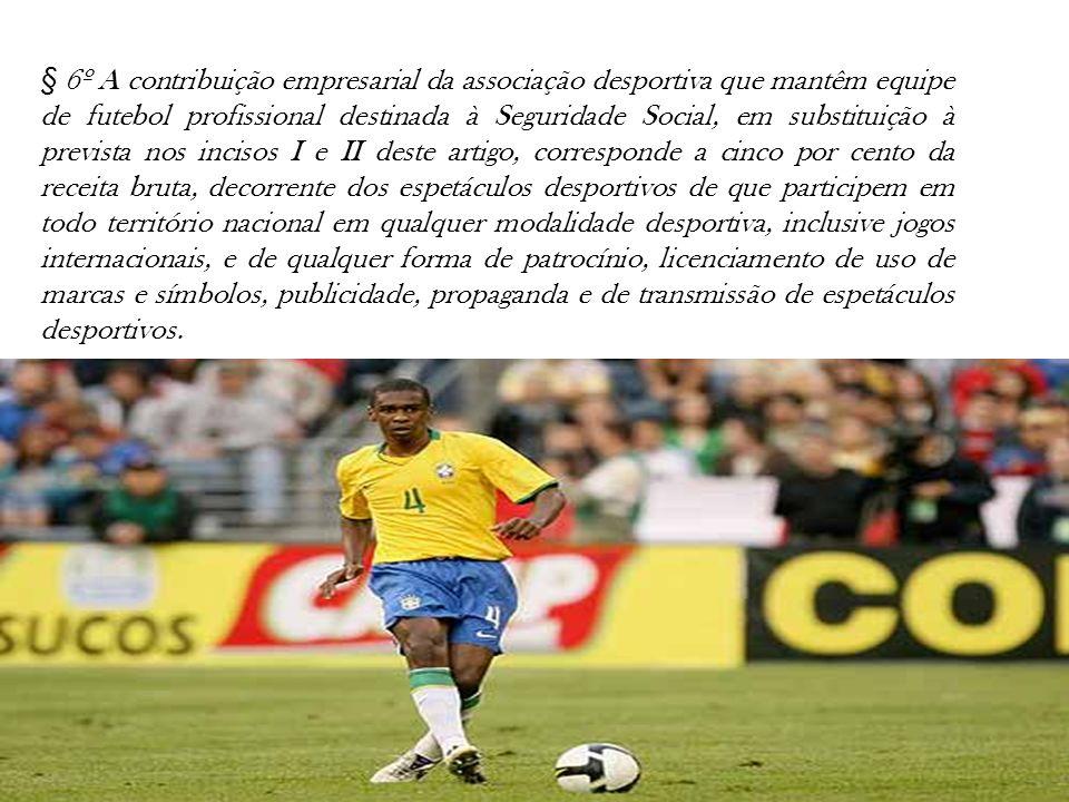 § 6º A contribuição empresarial da associação desportiva que mantêm equipe de futebol profissional destinada à Seguridade Social, em substituição à pr