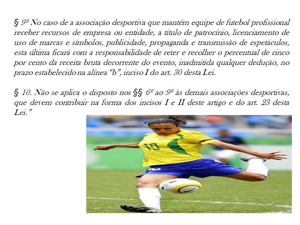 § 9º No caso de a associação desportiva que mantém equipe de futebol profissional receber recursos de empresa ou entidade, a título de patrocínio, lic