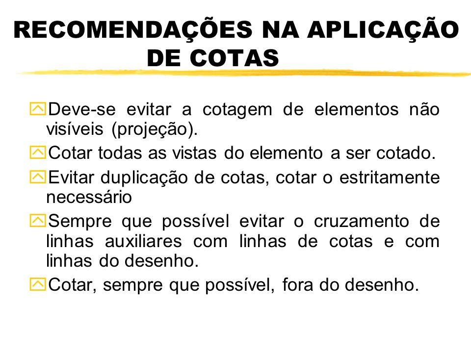 RECOMENDAÇÕES NA APLICAÇÃO DE COTAS yDeve-se evitar a cotagem de elementos não visíveis (projeção).
