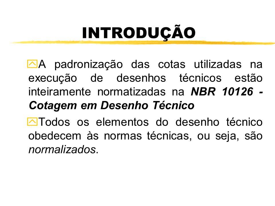 INTRODUÇÃO yA padronização das cotas utilizadas na execução de desenhos técnicos estão inteiramente normatizadas na NBR 10126 - Cotagem em Desenho Téc