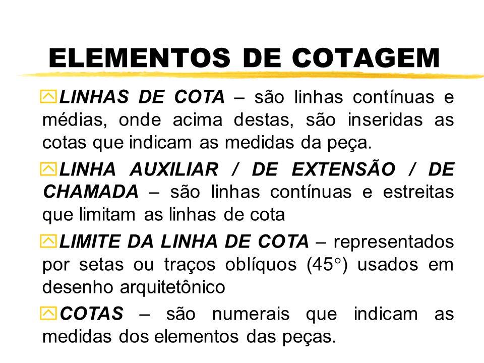 y y LINHAS DE COTA – são linhas contínuas e médias, onde acima destas, são inseridas as cotas que indicam as medidas da peça. y y LINHA AUXILIAR / DE