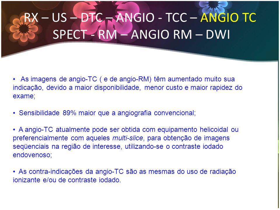 As imagens de angio-TC ( e de angio-RM) têm aumentado muito sua indicação, devido a maior disponibilidade, menor custo e maior rapidez do exame; Sensi