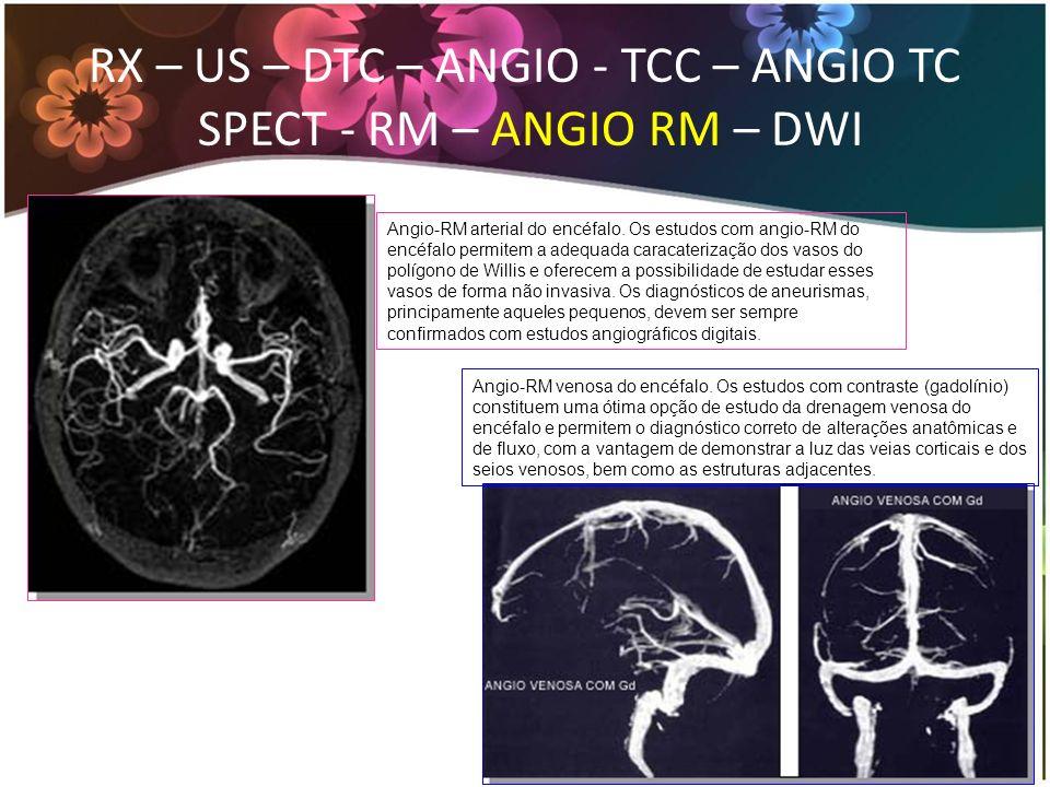 RX – US – DTC – ANGIO - TCC – ANGIO TC SPECT - RM – ANGIO RM – DWI Angio-RM arterial do encéfalo. Os estudos com angio-RM do encéfalo permitem a adequ