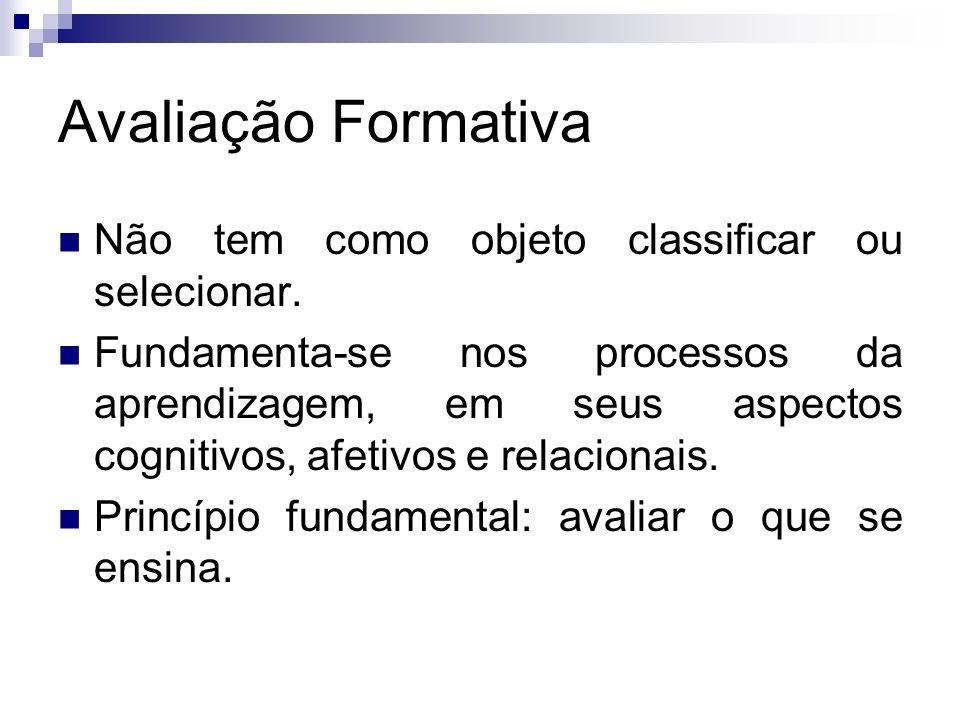 Avaliação Formativa Não tem como objeto classificar ou selecionar. Fundamenta-se nos processos da aprendizagem, em seus aspectos cognitivos, afetivos