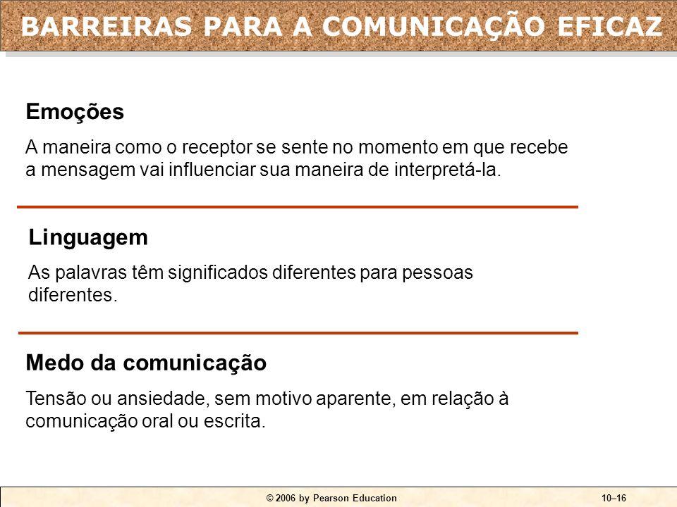 © 2006 by Pearson Education10–15 Filtragem Manipulação da informação pelo emissor para que ela seja vista de maneira mais favorável pelo receptor. Per