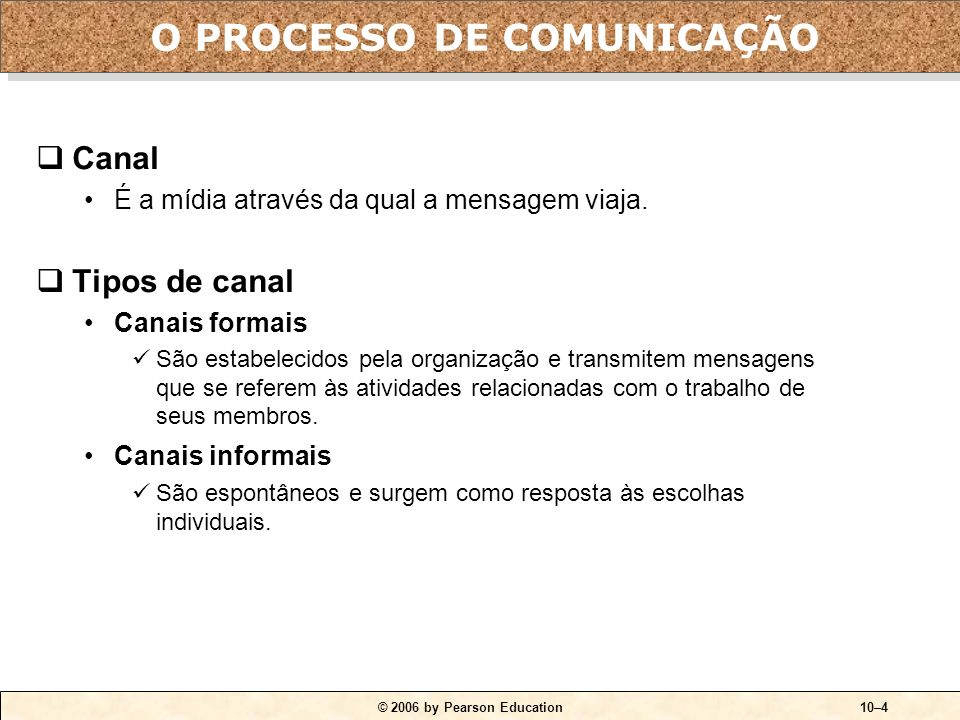 © 2006 by Pearson Education10–4 Canal É a mídia através da qual a mensagem viaja.