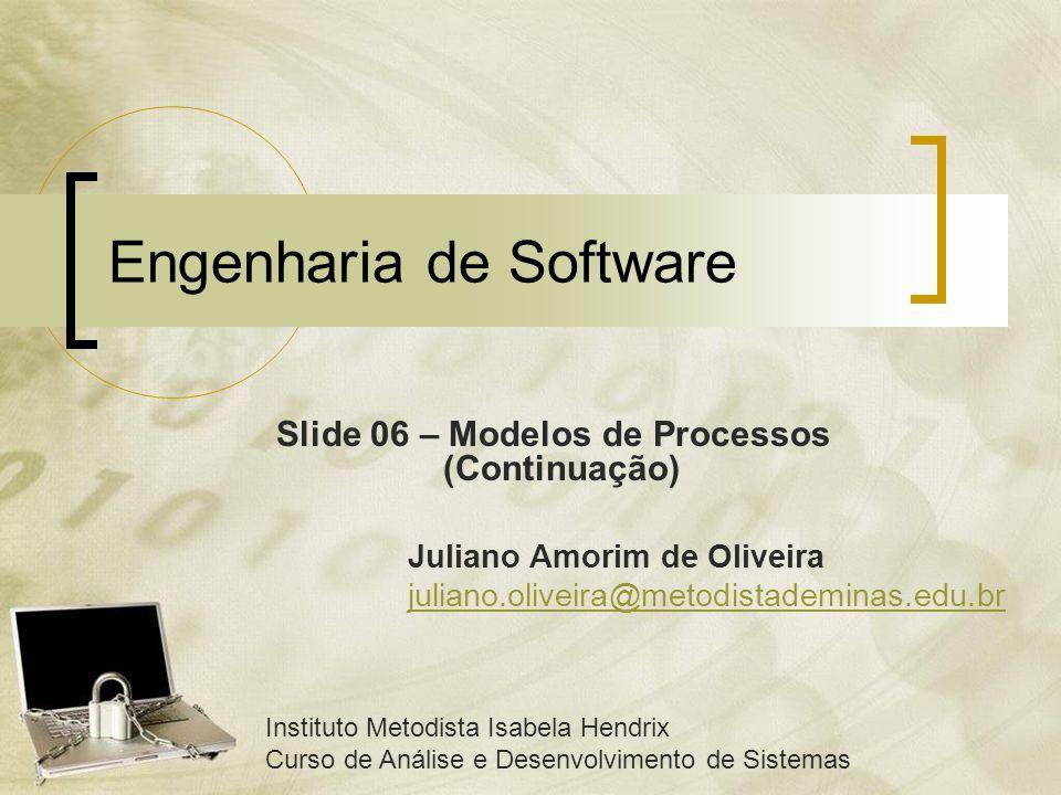 Engenharia de Software Slide 06 – Modelos de Processos (Continuação) Instituto Metodista Isabela Hendrix Curso de Análise e Desenvolvimento de Sistema