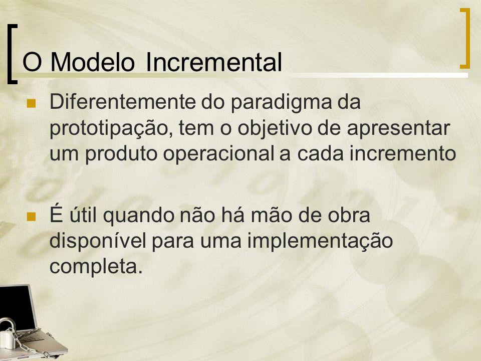 O Modelo Incremental Diferentemente do paradigma da prototipação, tem o objetivo de apresentar um produto operacional a cada incremento É útil quando