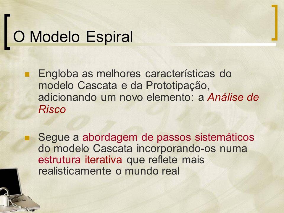 O Modelo Espiral Engloba as melhores características do modelo Cascata e da Prototipação, adicionando um novo elemento: a Análise de Risco Segue a abo