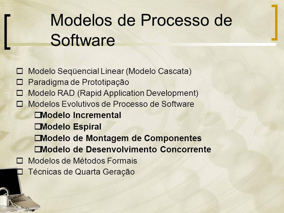 Modelo Seqüencial Linear (Modelo Cascata) Paradigma de Prototipação Modelo RAD (Rapid Application Development) Modelos Evolutivos de Processo de Softw