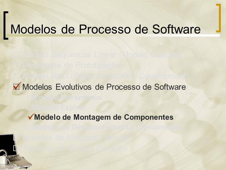 Modelos de Processo de Software Modelo Seqüencial Linear (Modelo Cascata) Paradigma de Prototipação Modelo RAD (Rapid Application Development) Modelos