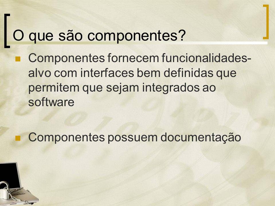 O que são componentes? Componentes fornecem funcionalidades- alvo com interfaces bem definidas que permitem que sejam integrados ao software Component