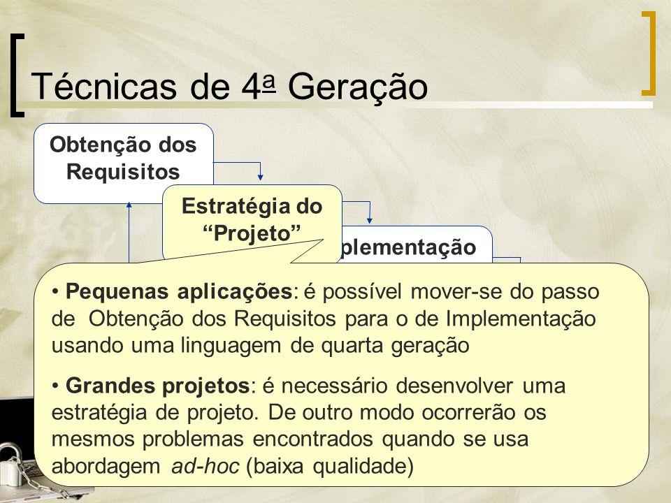 Obtenção dos Requisitos Técnicas de 4 a Geração Implementação usando 4GL Testes Estratégia do Projeto Pequenas aplicações: é possível mover-se do pass