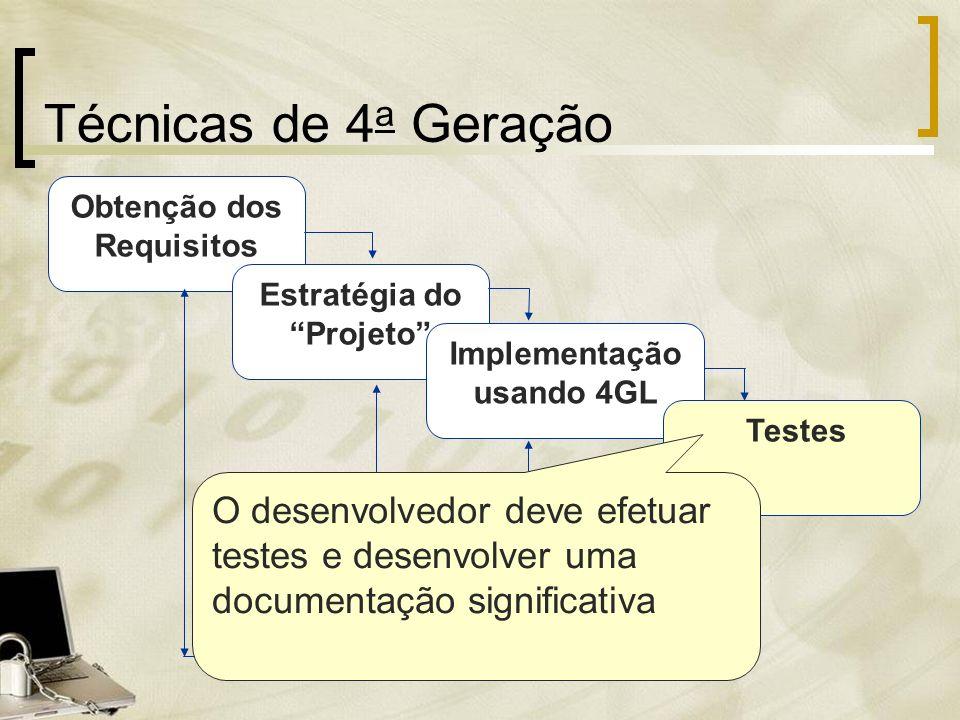 Obtenção dos Requisitos Técnicas de 4 a Geração Estratégia do Projeto Implementação usando 4GL Testes O desenvolvedor deve efetuar testes e desenvolve