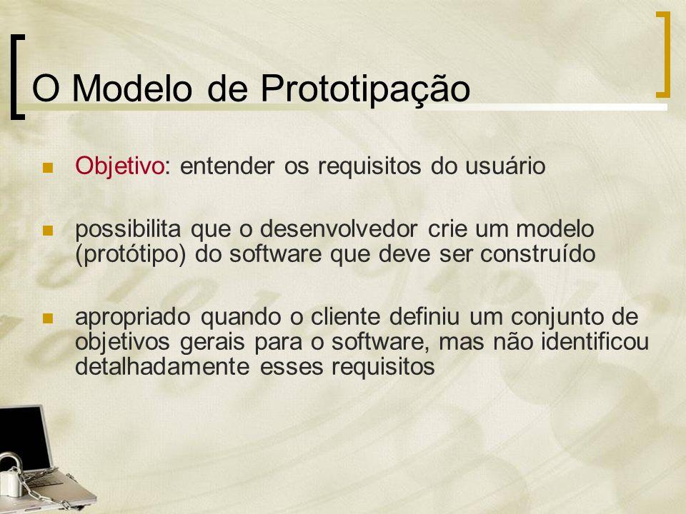 O Modelo de Prototipação Objetivo: entender os requisitos do usuário possibilita que o desenvolvedor crie um modelo (protótipo) do software que deve s