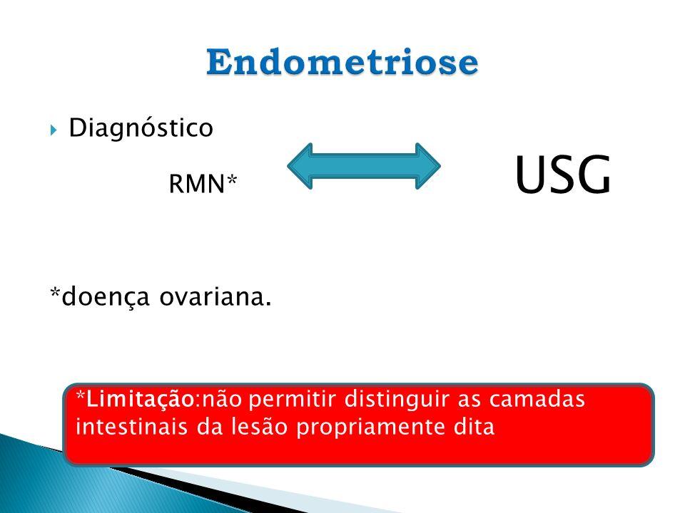 Diagnóstico RMN* USG *doença ovariana. *Limitação:não permitir distinguir as camadas intestinais da lesão propriamente dita