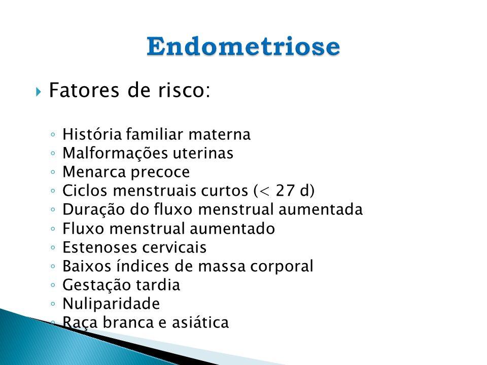Fatores de risco: História familiar materna Malformações uterinas Menarca precoce Ciclos menstruais curtos (< 27 d) Duração do fluxo menstrual aumenta
