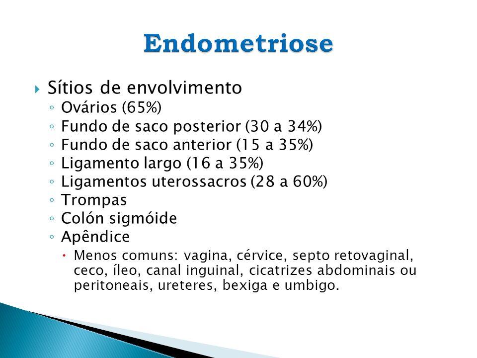 Sítios de envolvimento Ovários (65%) Fundo de saco posterior (30 a 34%) Fundo de saco anterior (15 a 35%) Ligamento largo (16 a 35%) Ligamentos uteros