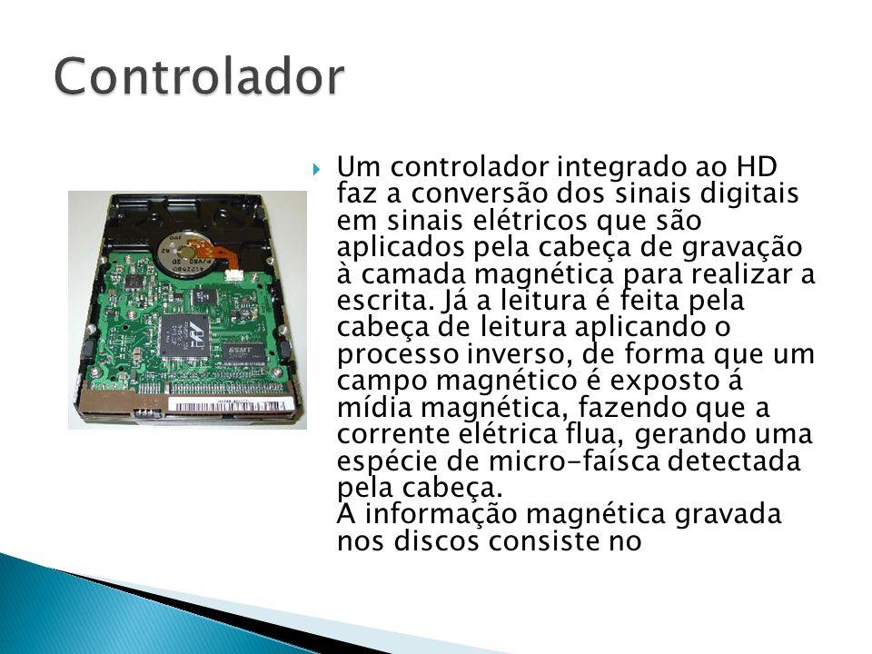 Um controlador integrado ao HD faz a conversão dos sinais digitais em sinais elétricos que são aplicados pela cabeça de gravação à camada magnética pa