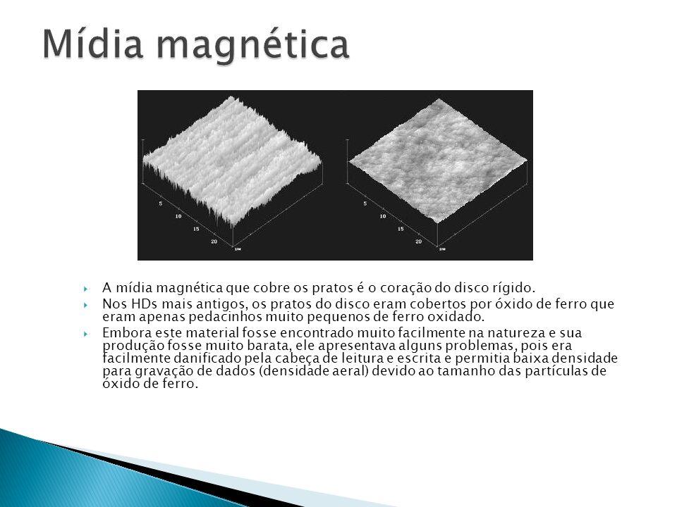 A mídia magnética que cobre os pratos é o coração do disco rígido. Nos HDs mais antigos, os pratos do disco eram cobertos por óxido de ferro que eram