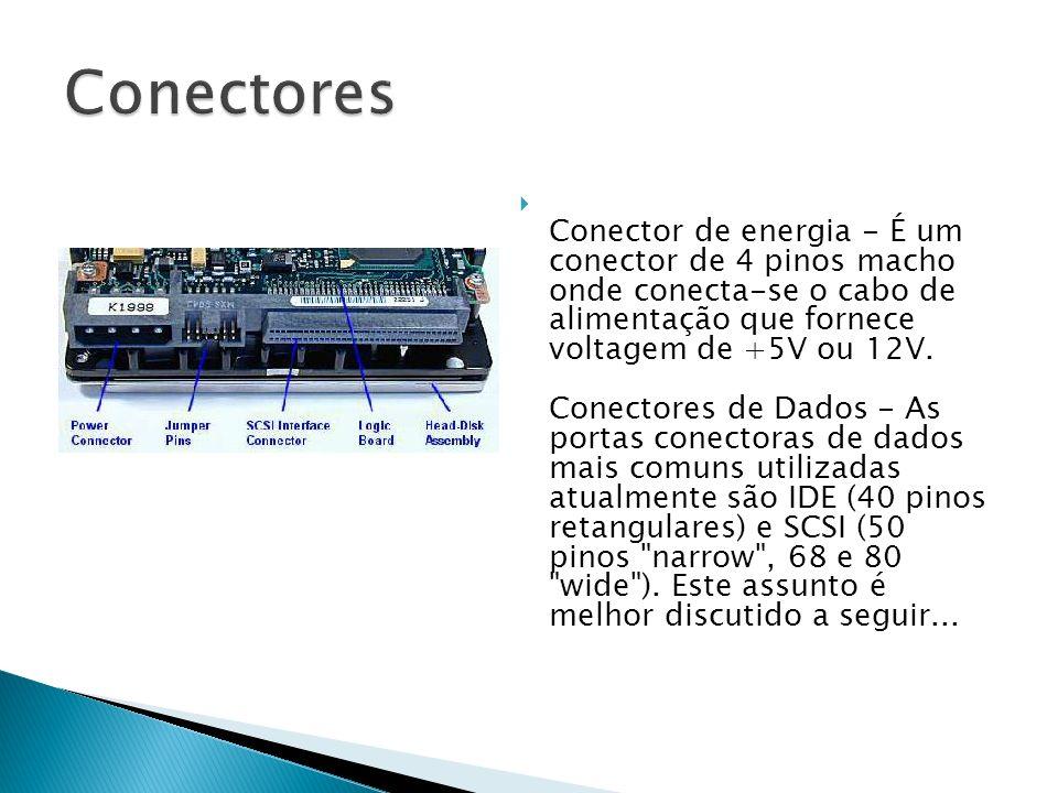 Conector de energia - É um conector de 4 pinos macho onde conecta-se o cabo de alimentação que fornece voltagem de +5V ou 12V. Conectores de Dados - A