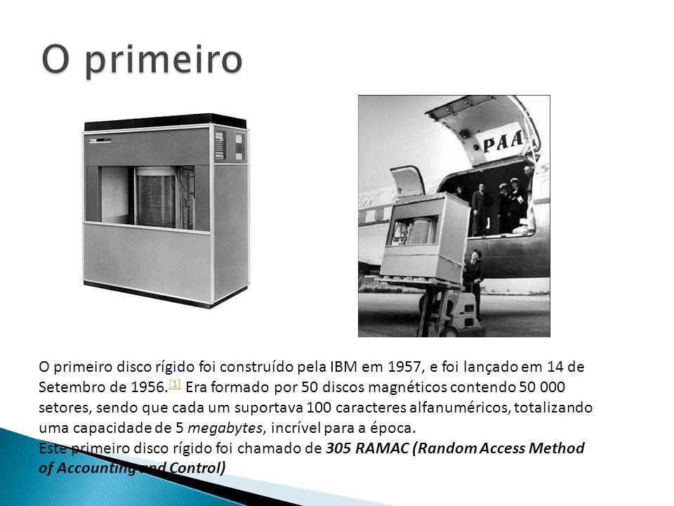 O primeiro disco rígido foi construído pela IBM em 1957, e foi lançado em 14 de Setembro de 1956. [1] Era formado por 50 discos magnéticos contendo 50