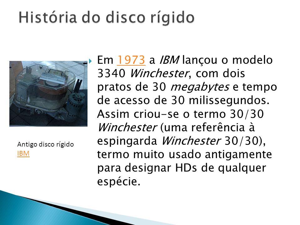 Em 1973 a IBM lançou o modelo 3340 Winchester, com dois pratos de 30 megabytes e tempo de acesso de 30 milissegundos. Assim criou-se o termo 30/30 Win