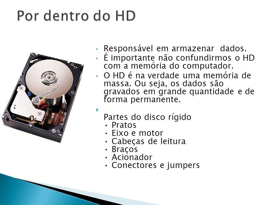 Responsável em armazenar dados. É importante não confundirmos o HD com a memória do computador. O HD é na verdade uma memória de massa. Ou seja, os da