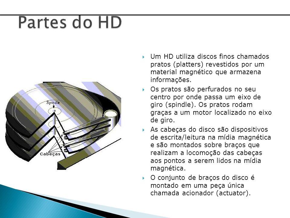 Um HD utiliza discos finos chamados pratos (platters) revestidos por um material magnético que armazena informações. Os pratos são perfurados no seu c