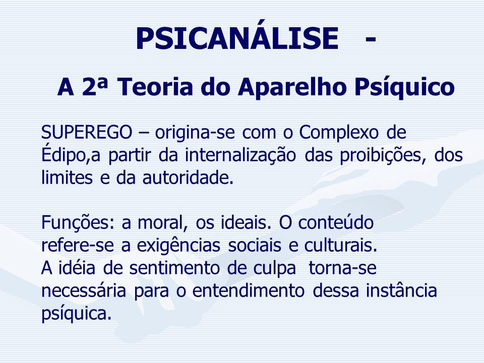 PSICANÁLISE - A 2ª Teoria do Aparelho Psíquico EGO – é o sistema que estabelece o equilíbrio entre as exigências da realidade, as exigências do ID e a
