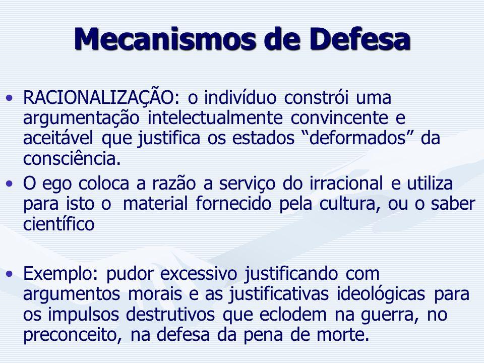Mecanismos de Defesa PROJEÇÃO: é uma confluência de distorções do mundo externo e interno. O indivíduo localiza (projeta) algo de si no mundo externo